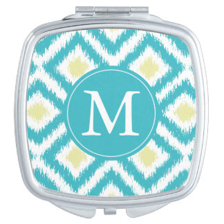 Monogrammed Aqua Lemon Diamond Ikat Pattern Vanity Mirror