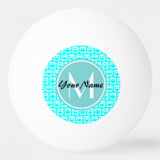 Monogrammed Aqua Turquoise Owls Ping Pong Ball