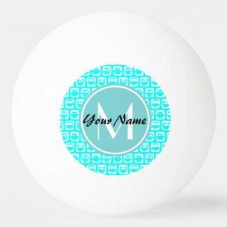 Monogrammed Aqua Turquoise Owls Ping Pong Ball