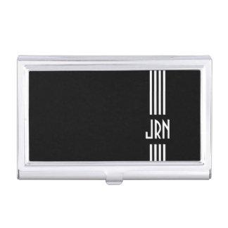 Monogrammed Art Deco | Black and White Business Card Holder