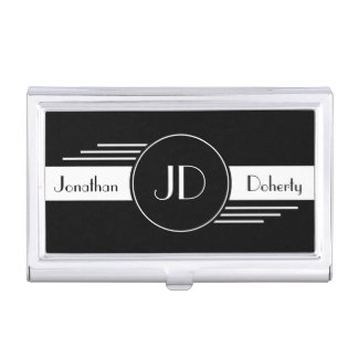Monogrammed Art Deco Business Card Case