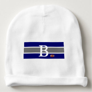 Monogrammed Baby Football Design-Gray/White & Blue Baby Beanie