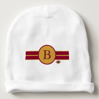Monogrammed Baby Football Design-Maroon & Gold Baby Beanie