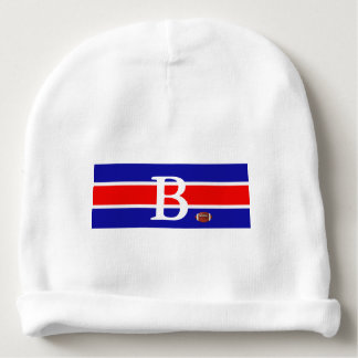 Monogrammed Baby Football Design-Red/White & Blue Baby Beanie