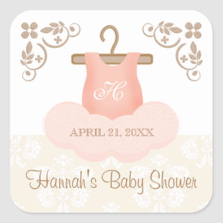 MONOGRAMMED BALLERINA TUTU PARTY FAVOR LABEL SQUARE STICKER