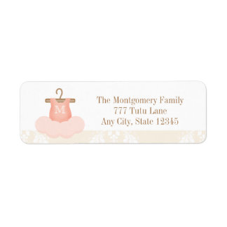 MONOGRAMMED BALLERINA TUTU RETURN ADDRESS LABELS