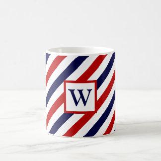 Monogrammed barber shop stripes pattern coffee mug