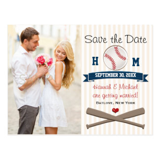 Monogrammed Baseball Themed Save the Date Postcard
