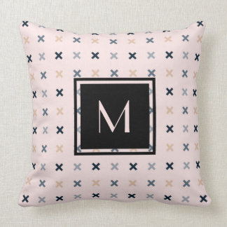 Monogrammed Batsu X Blush Color Pattern Cushion