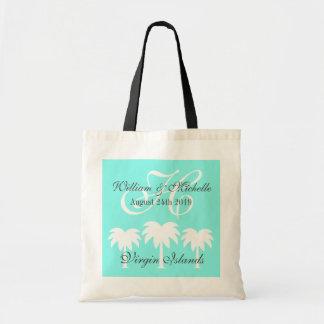 Monogrammed beach destination wedding tote bag budget tote bag