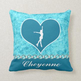 Monogrammed Beautiful Turquoise Figure Skater Cushion