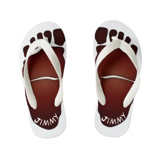 Monogrammed Big-Foot Footprints Toddler & Kids #2 Kid's Thongs
