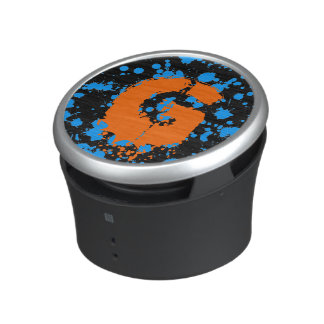 Monogrammed Black and Blue 90s Splatter Paint Art Speaker