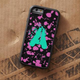 Monogrammed Black and Fuschia Splatter Paint Art Tough Xtreme iPhone 6 Case