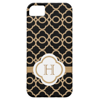 Monogrammed Black and Gold Moroccan Barely There iPhone 5 Case
