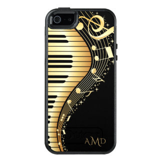 Monogrammed Black And Gold Musical Keyboard OtterBox iPhone 5/5s/SE Case