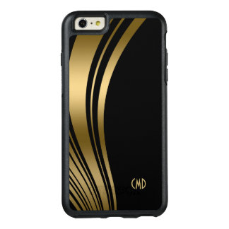 Monogrammed Black And Gold Wavy Stripes OtterBox iPhone 6/6s Plus Case
