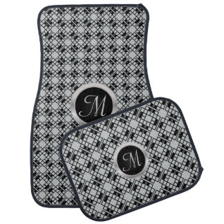Monogrammed Black and Gray Abstract Floor Mat