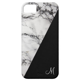 Monogrammed Black And Gray Marble Stone Texture Barely There iPhone 5 Case