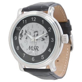 Monogrammed Black and Gray Musical Notes Watch