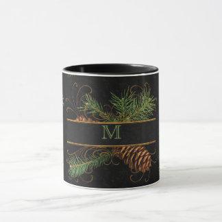 Monogrammed Black and Pine Cone Woodland Theme Mug
