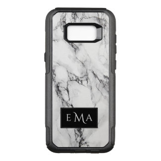 Monogrammed Black And White Marble Stone OtterBox Commuter Samsung Galaxy S8+ Case
