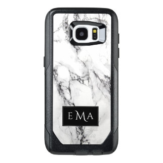 Monogrammed Black And White Marble Stone OtterBox Samsung Galaxy S7 Edge Case