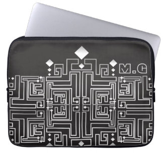 Monogrammed Black and White Maze Pattern Laptop Sleeve