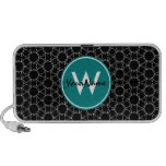Monogrammed Black and White Pattern iPhone Speakers