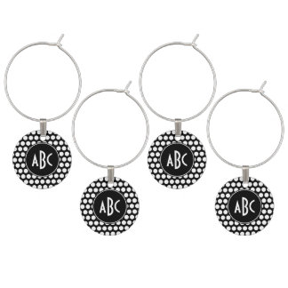 Monogrammed Black and White Polka Dots Wine Glass Charm