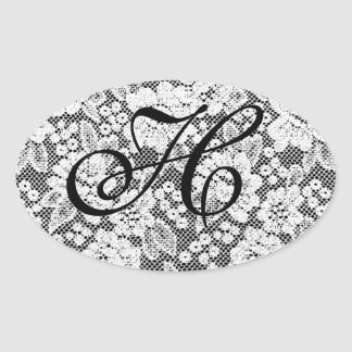 Monogrammed Black and White Sticker Letter H