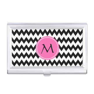 Monogrammed Black and White Zigzag Pattern Business Card Holder