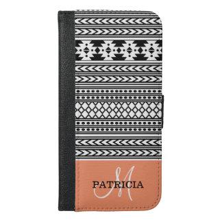 Monogrammed Black Aztec Pattern Custom Name iPhone 6/6s Plus Wallet Case