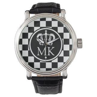 Monogrammed Black Chequered Big Boss Wristwatch