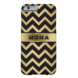 Monogrammed Black Chevron Gold Background Barely There iPhone 6 Case