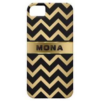 Monogrammed Black Chevron Pattern Gold Background iPhone 5 Cover