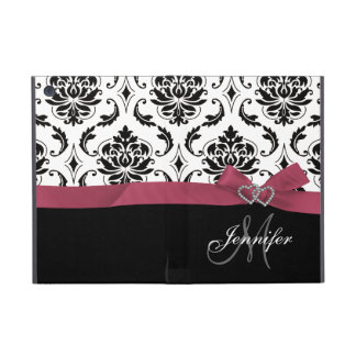 Monogrammed Black Damask Pink Bow Diamond Hearts Cover For iPad Mini