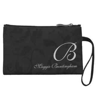 Monogrammed Black Damask with Name Wristlet