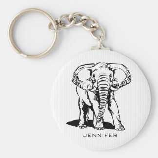 Monogrammed Black Elephant Basic Round Button Key Ring