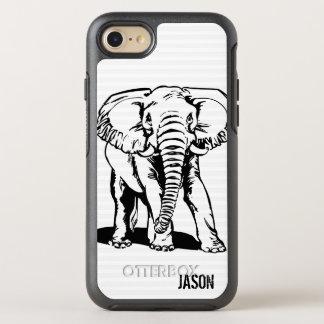 Monogrammed Black Elephant Illustration OtterBox Symmetry iPhone 8/7 Case