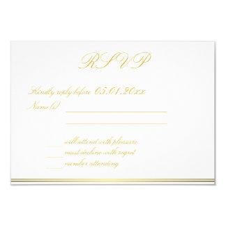 Monogrammed Black Gold Elegant Wedding RSVP Cards 9 Cm X 13 Cm Invitation Card