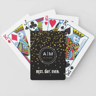 Monogrammed Black Gold Wedding Favor Best Day Ever Bicycle Playing Cards