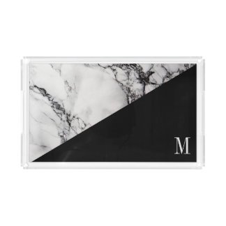 Monogrammed Black Gray Marble Acrylic Tray