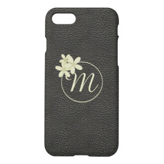 Monogrammed Black Leather Effect iPhone 7 Case