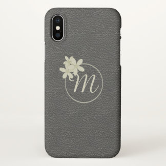 Monogrammed Black Leather Effect iPhone X Case
