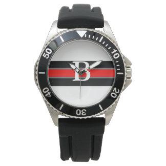 Monogrammed Black & Red Striped Watch