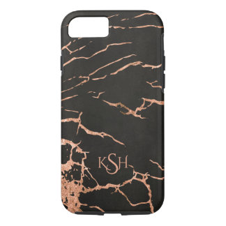 Monogrammed Black & Rose-Gold Marble Stone iPhone 8/7 Case