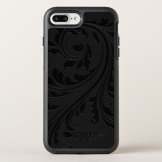 Monogrammed Black Swirls OtterBox Symmetry iPhone 8 Plus/7 Plus Case