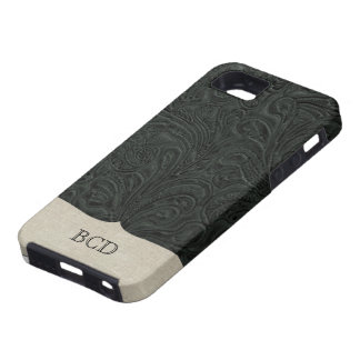 Monogrammed Black Tooled Leather Look Country Case For The iPhone 5