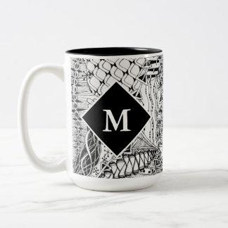 Monogrammed Black & White Doodle Pattern Art ZIA Two-Tone Coffee Mug